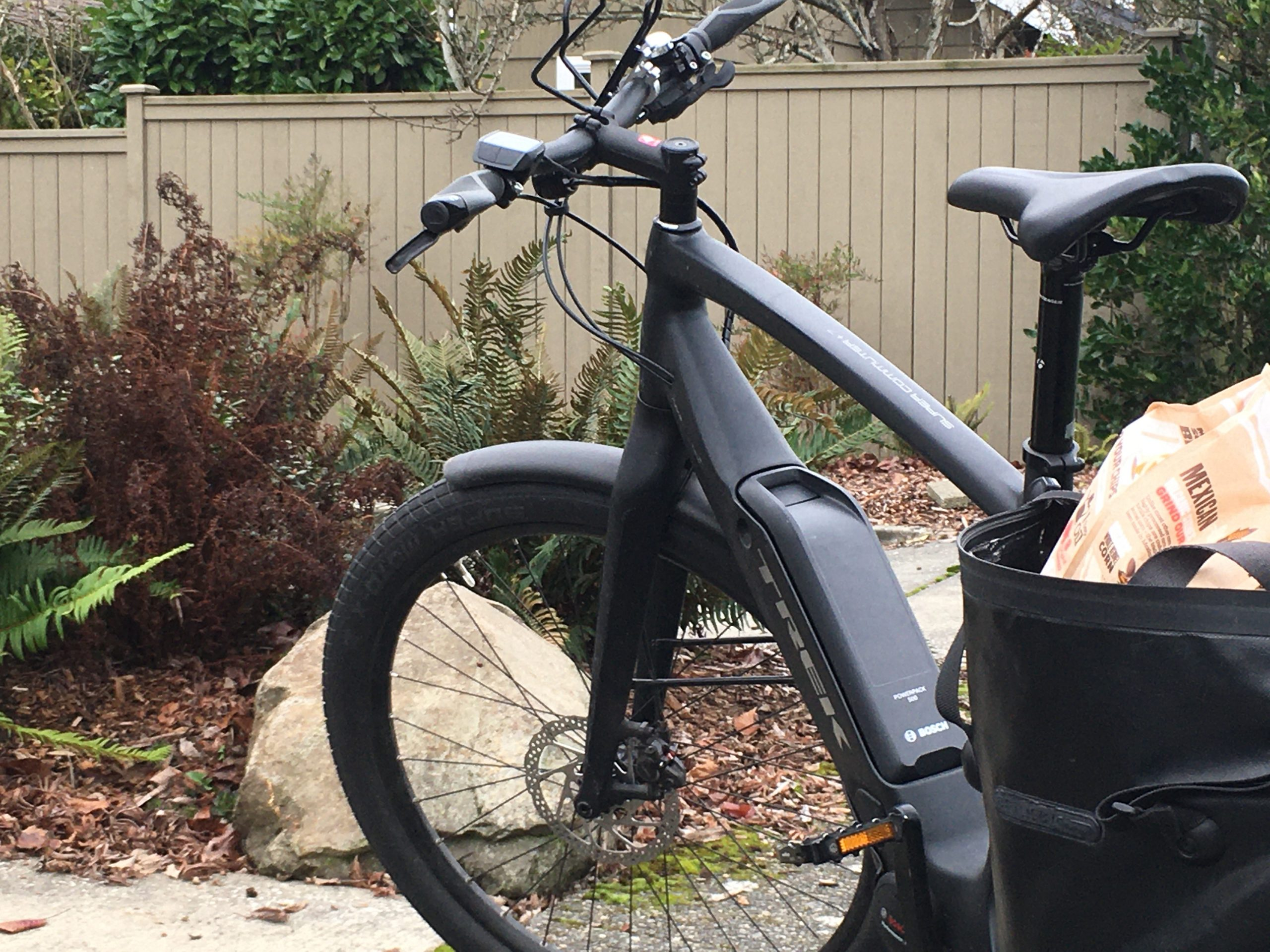 Black electric bike with groceries in back pannier parked in front of house with garden.