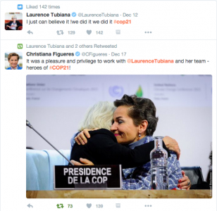 Twitter celebration by, of and about COP21 leadership.