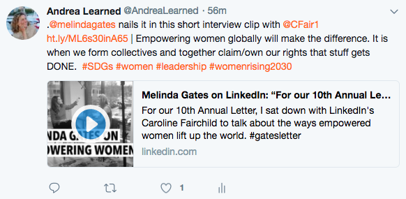 Tweet about Melinda Gates and importance of empowering women in tech and beyond.