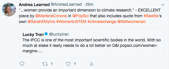 Tweet about the important dimension provided by women in science and climate change.