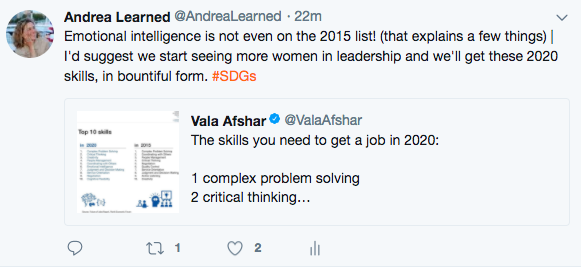 Vala Afshar tweet comparing key job skills needed in 2015 and 2020